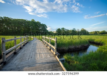 Scenic Boardwalk Footpath through Estuary in Summer - Peaceful Nature Trail with Bridge over Water - stock photo