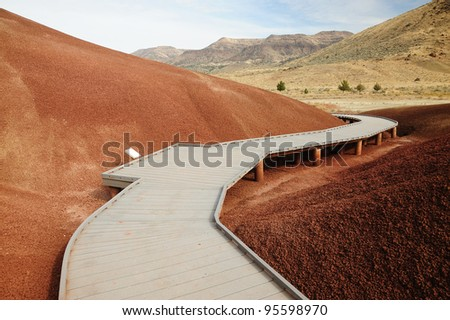 scenic boardwalk on painted hills in john day national monument, oregon, usa