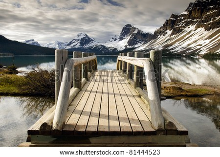 Scenic Bow Lake, Banff National Park Alberta Canada - stock photo