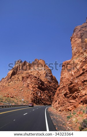 Scenic by way route 95 through Glen canyon national recreation area - stock photo