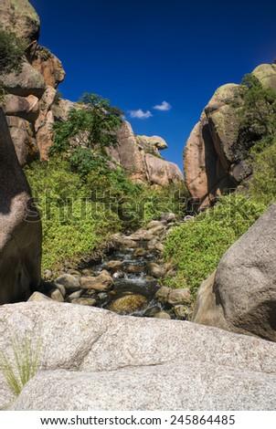 Scenic canyon in Cerro Uritorco in Argentina, South America - stock photo