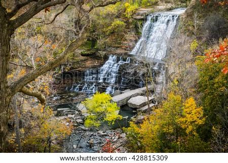 Scenic Cascading Waterfalls in Southern Ontario Autumn - stock photo