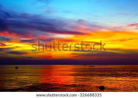 Scenic cloud sunset sky background, Nature composition cloudscape - stock photo