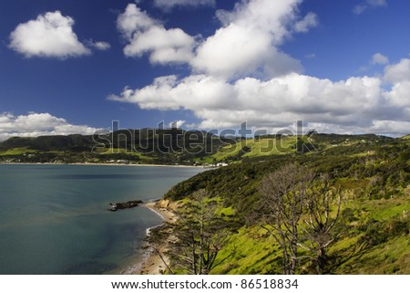 Scenic coastal beach town of Omapere on the North island of New Zealand, - stock photo