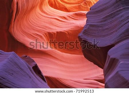 Scenic color slot Antelope canyon . Navajo Reservation, USA - stock photo