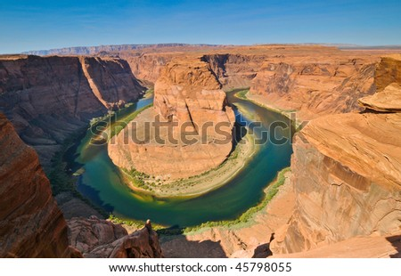 Scenic Colorado river bend in form of horse shoe near Page