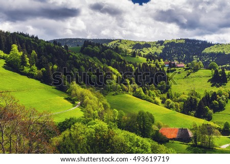 Scenic countryside landscape: green hilly mountain valley with forests, fields and village with old, traditional houses. Germany, Black Forest. Travel background.