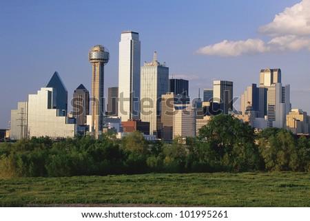 Scenic Dallas skyline - stock photo