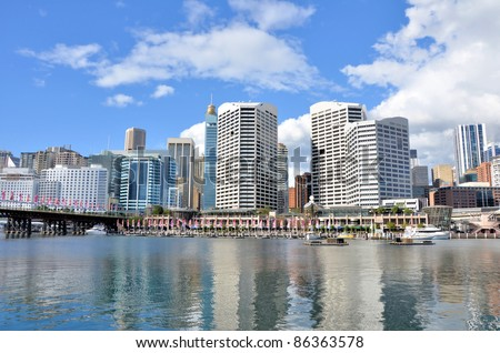 Scenic Darling Harbour on Clear Winter Day - stock photo