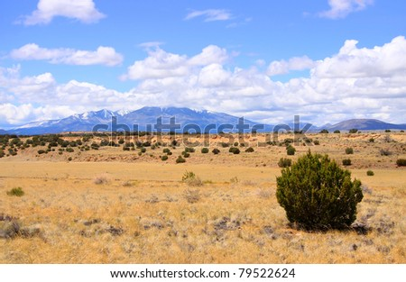 Scenic desert landscape with Humphreys Peak seen in the far, Tallest in Arizona