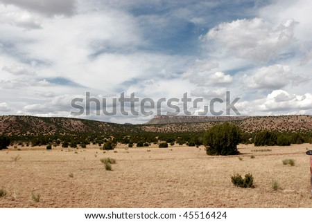 Scenic desert landscape with mountains and mesas in New Mexico, USA - stock photo