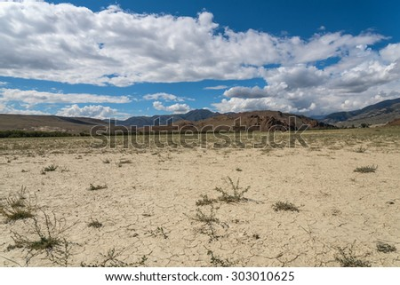 Scenic desert steppe landscape with mountains. Dry land with rare plants as the foreground and mountains, sky and clouds in the background.  - stock photo