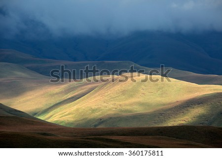Scenic Drakensberg mountain landscape, Giants Castle nature reserve, South Africa - stock photo