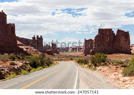 Scenic Drive Arches National Park - stock photo