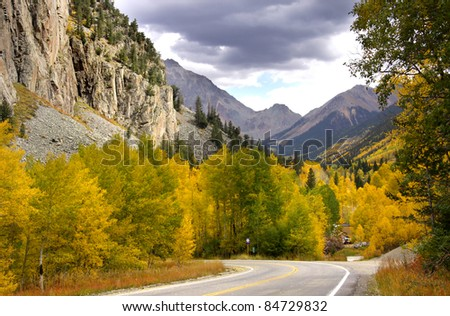 Scenic drive in Rocky mountains in Colorado - stock photo
