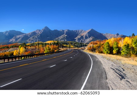 Scenic drive near Dallas divide in San Juan mountains - stock photo