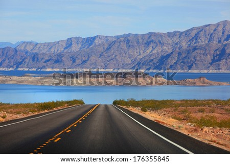 Scenic drive to Lake Mead - stock photo