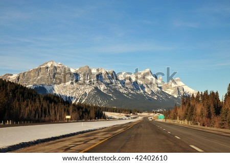Scenic drive to rocky mountains in banff national park, alberta, canada - stock photo