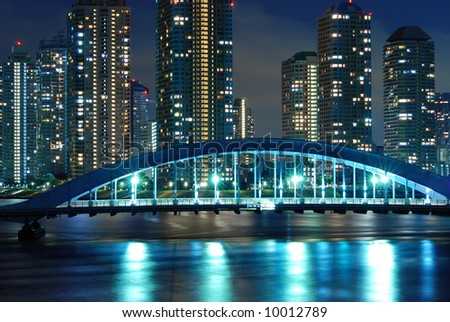 scenic Eitai bridge over Sumida river at night time, Tokyo Japan - stock photo