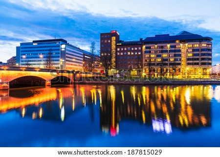 Scenic evening panorama of architecture and pier in Hakaniemi district in Helsinki, Finland - stock photo
