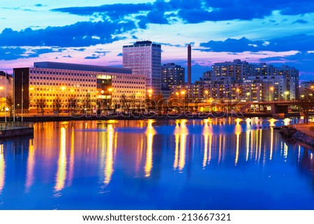 Scenic evening panorama of modern architecture and pier in Hakaniemi district in Helsinki, Finland - stock photo
