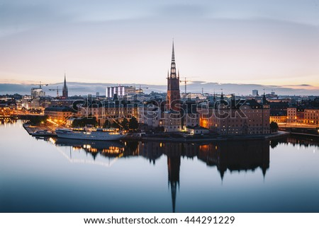 Scenic evening panorama of Stockholm, Sweden - stock photo