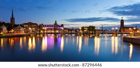 Scenic evening panorama of the Old Town (Gamla Stan) in Stockholm, Sweden - stock photo