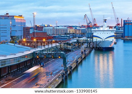 Scenic evening panorama of the Port of Helsinki, Finland - stock photo