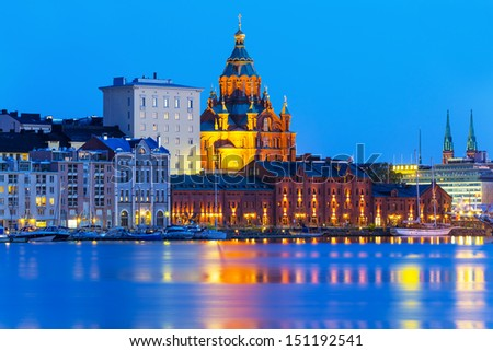 Scenic evening summer view of Uspensky Cathedral in the Old Town in Helsinki, Finland - stock photo