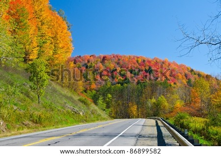 Scenic fall drive on Route 6 in Pennsylvania - stock photo