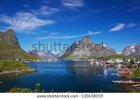 Scenic fishing town of Reine on Lofoten islands in Norway - stock photo