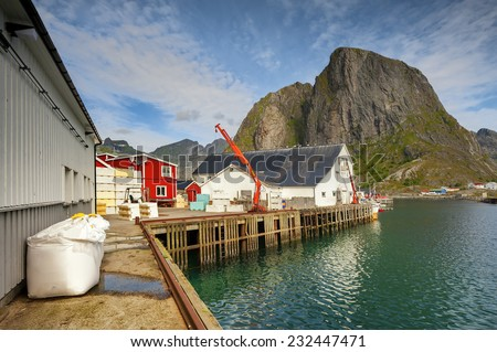Scenic fjord on Lofoten, Norway, part of the fish processing - stock photo