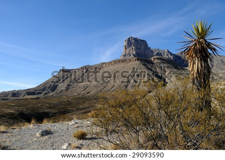 Scenic Guadalupe Mountains stretch from Texas to New Mexico - stock photo