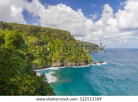 Scenic Hana coastline with Road to Hana hugging the coast, Maui, Hawaii - stock photo