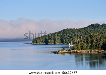 scenic harbor and calm water in alaska