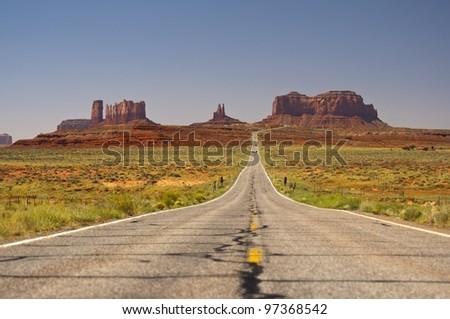 scenic Highway 163 through Monument Valley, Arizona, Utah, Navajo Nation, USA - stock photo