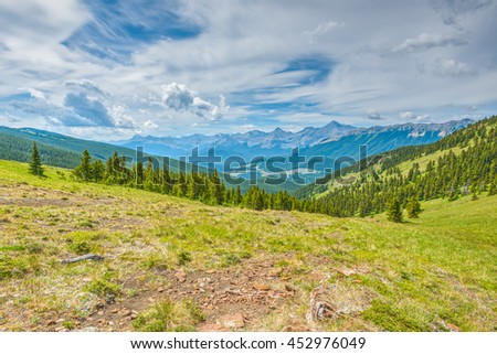 Scenic Hiking Views of the Rocky Mountains, Powderface Ridge, Kananaskis Country Alberta Canada - stock photo