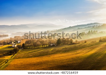 Scenic hills at sunset, Emilia-Romagna region, Italy.