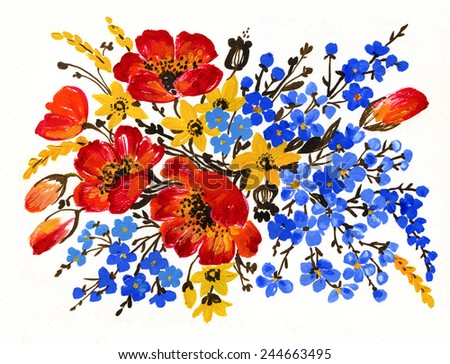 Scenic illustration of a bouquet of flowers - stock photo