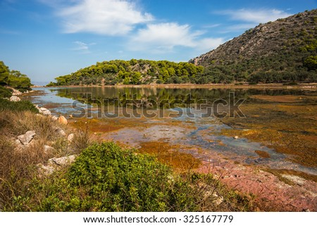 Scenic image of a lake on Agistri island near Aponisos, Greece