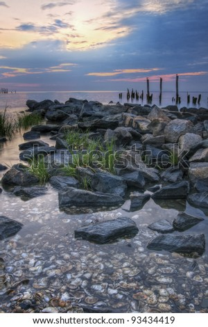 Scenic image of sunrise on the Delaware Bay. - stock photo
