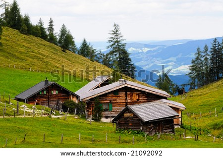 scenic images of alpine huts - stock photo