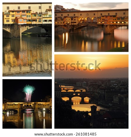 scenic images with Ponte Vecchio ( Old bridge) of Florence  - stock photo