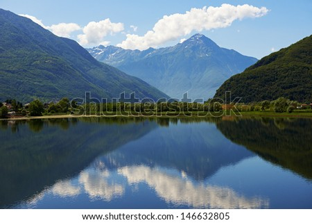 Scenic Italy lake landscape in Alpine mountains
