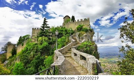 scenic Italy series - San Marino, view with castle  - stock photo
