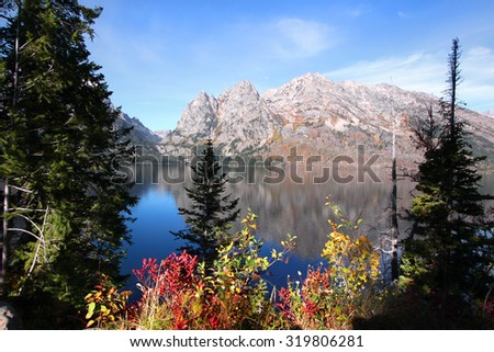 Scenic Jenny lake in Grand Tetons national park - stock photo