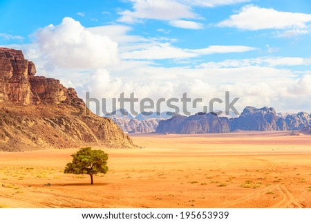 Scenic Jordanian Desert in Wadi Rum, Jordan. Wadi Rum is known as The Valley of the Moon and a UNESCO World Heritage Site. - stock photo
