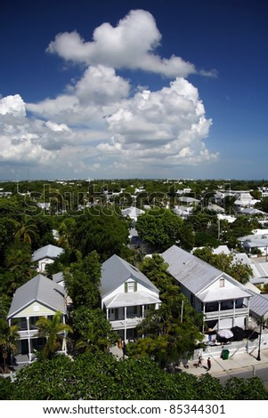 Scenic Key West as viewed from the Historic Lighthouse - stock photo