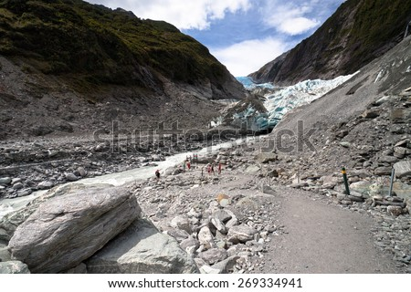 Scenic landscape at Franz Josef Glacier. Southern Alps, West Coast, South Island, New Zealand. - stock photo