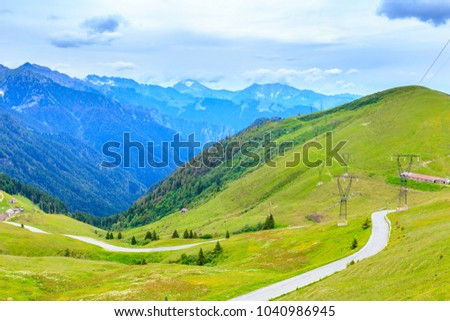 Scenic landscape at Passo San Marco or San Marco Pass in summer, Lombardia, Italy.